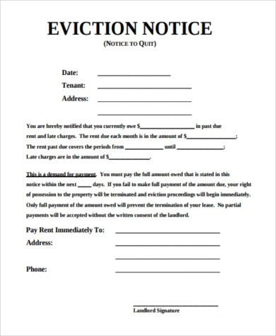 Eviction Notice Template. Sample Eviction Notice Form Sample ...