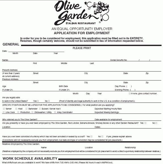 Olive Garden Application - Online Job Employment Form
