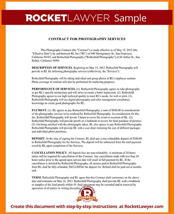 11+ photography contract templates - LetterHead Template Sample