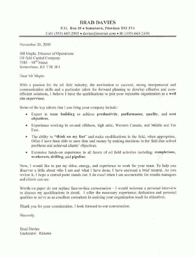 Oil Field Supervisor Cover Letter Sample - All Trades