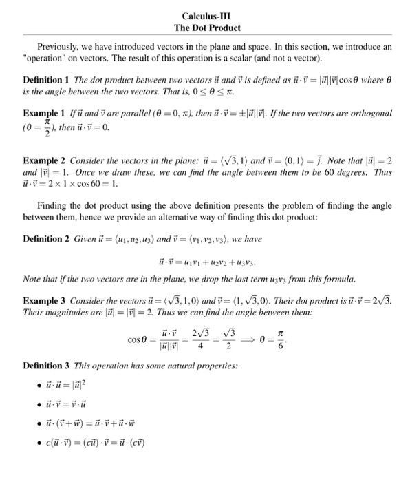 Calculus-III The Dot Product Previously, We Have I... | Chegg.com