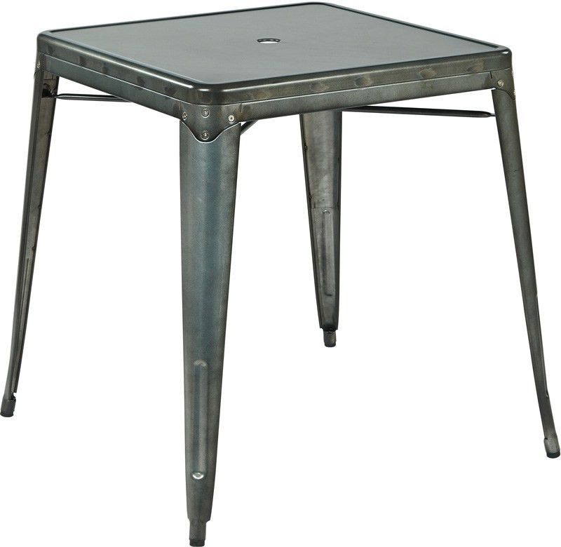 OSP Designs Bristow Metal Dining Table with Umbrella Hole - Matte ...