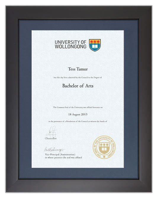 Degree Certificate Frame for UOW | GownTown