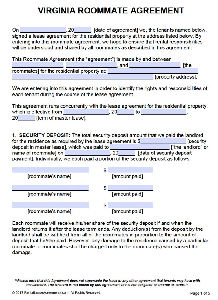 Free Virginia Roommate Agreement Template U2013 PDF U2013 Word