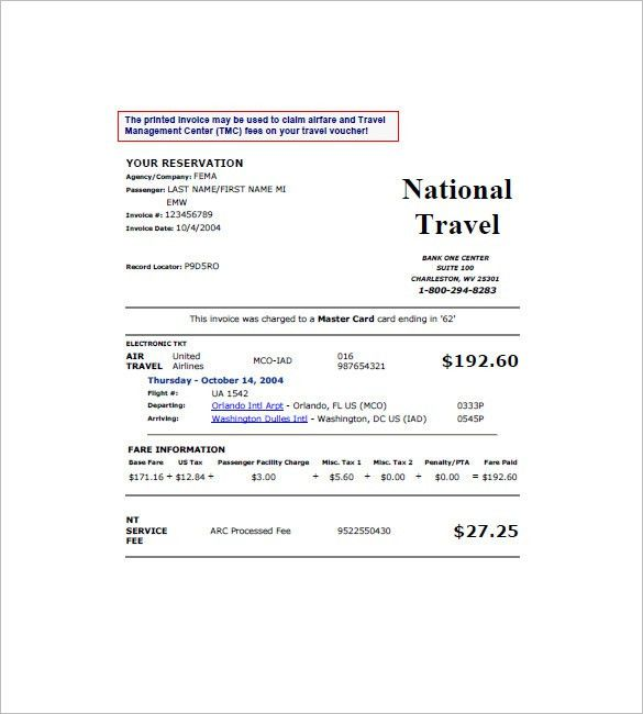 Travel Invoice Templates – 8+ Free Word, Excel, PDF Format ...
