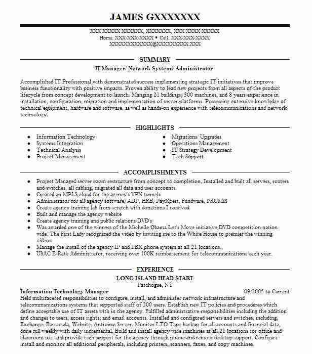 Best Network Systems Manager Resume Example | LiveCareer