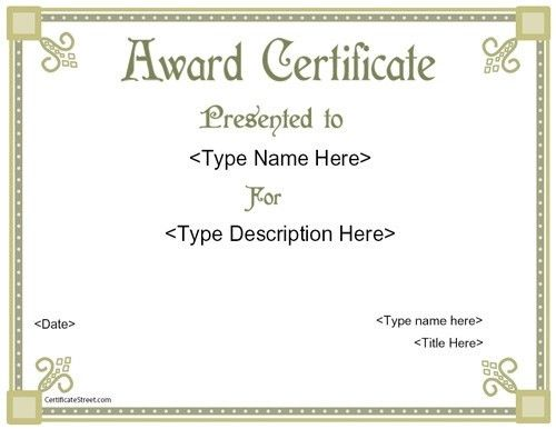 Free Award Template : Helloalive
