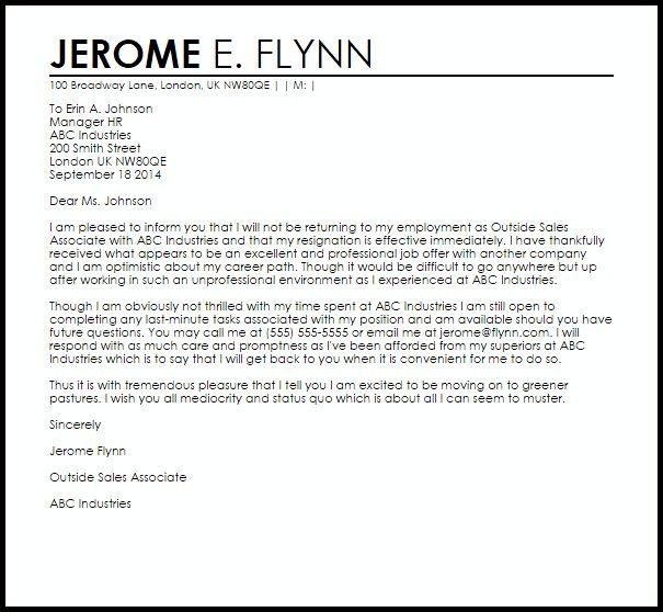 Sarcastic Resignation Letter | Resignation Letters | LiveCareer