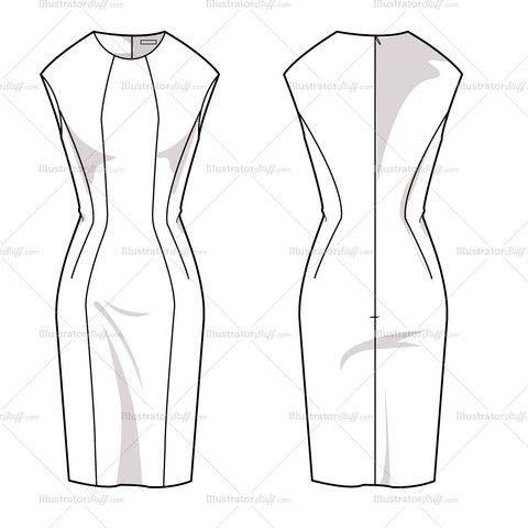 Women's Sheath Dress Fashion Flat Template | Fashion flats, Dress ...