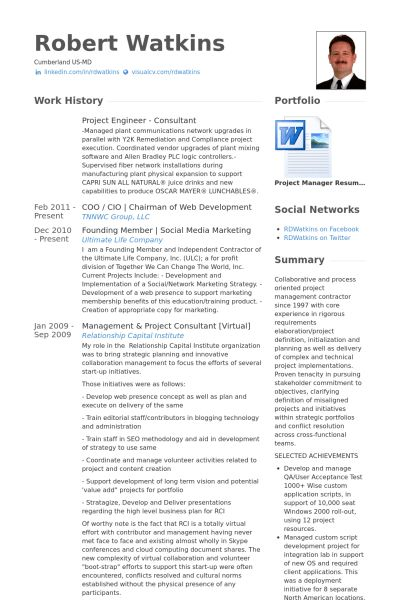 Project Engineer Resume samples - VisualCV resume samples database