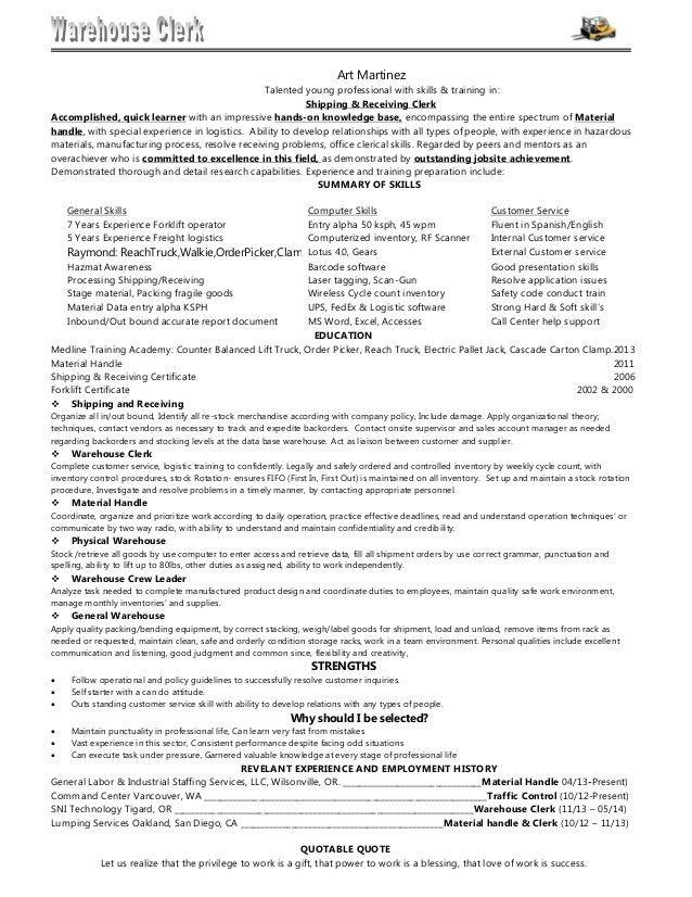 02.Resume Warehouse Associate Art Martinez[1B]