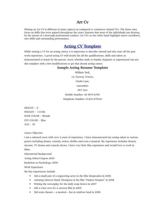 Acting Cv Template. Projects Ideas Actors Resume Template 15 10 ...