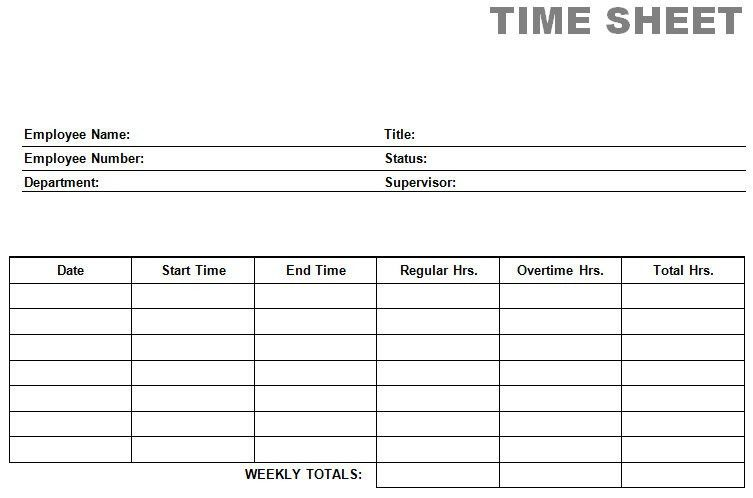 Printable Blank PDF Time Card Time Sheets