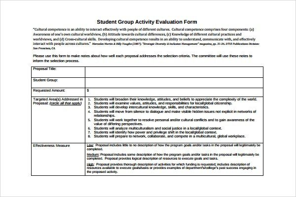 group evaluation form template