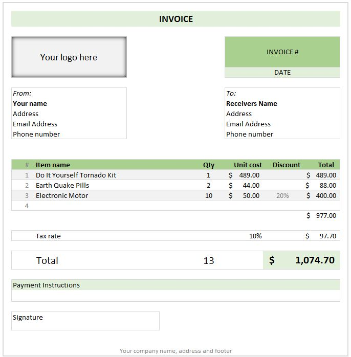 Free Invoice Template using Excel - Download today - Create, print ...