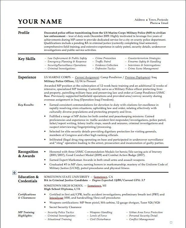 Resume For Law Enforcement - cv01.billybullock.us