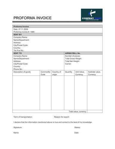 Free Proforma Invoice Templates [8 Examples - Word/Excel]