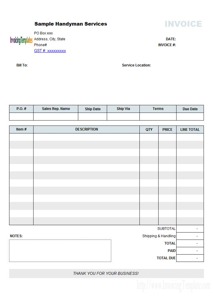 Handyman Bill Sample (No Tax)