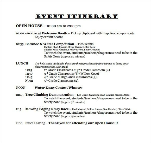 Sample Event Itinerary Template - 9+ Dcouments Download in PDF ...