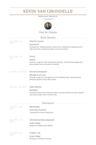 Chef De Cuisine Resume samples - VisualCV resume samples database