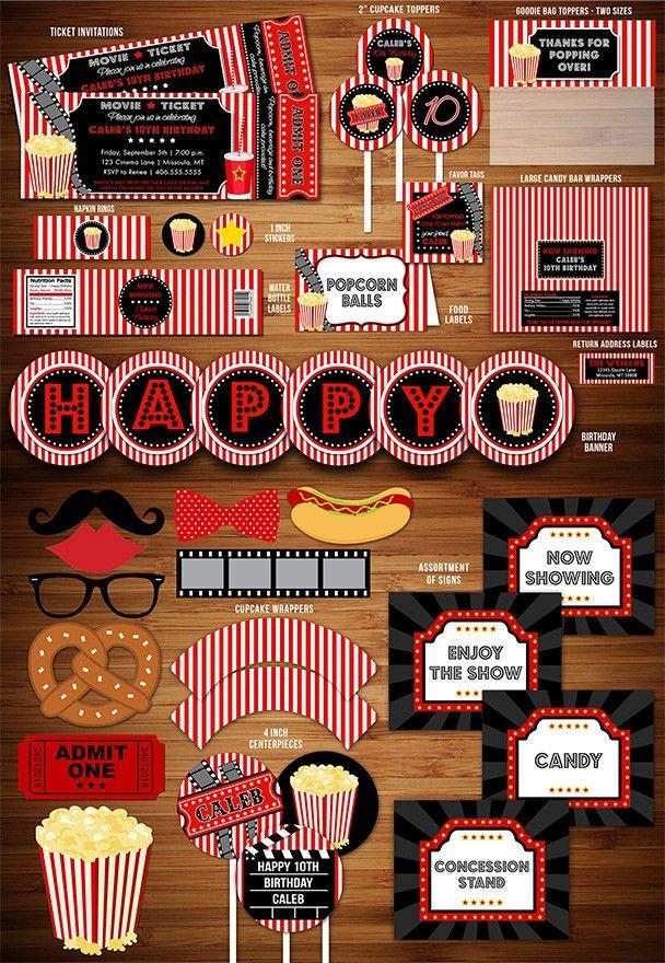 Printable Movie Night Birthday Party Package Decorations | Movie ...