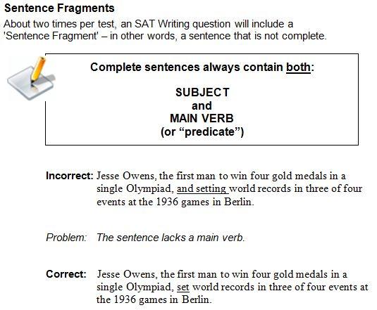 SAT Writing: Sentence Fragments | SAT Unlocked II