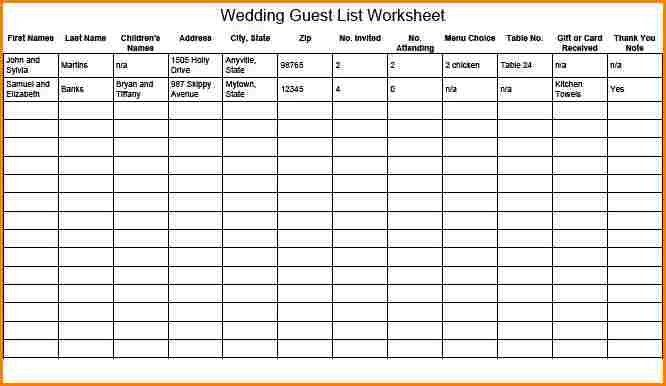 6+ printable wedding guest list template | wedding spreadsheet