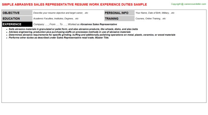 Abrasives Sales Representative Resume Sample