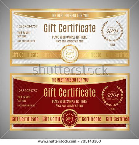 Voucher Gift Certificate Coupon Template Floral Stock Vector ...