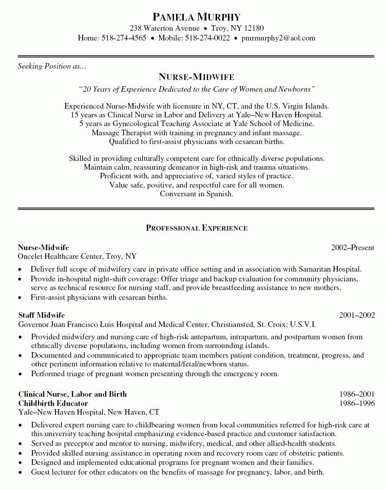 Nurse Midwife Resume - Nurse Midwife Resume Sample