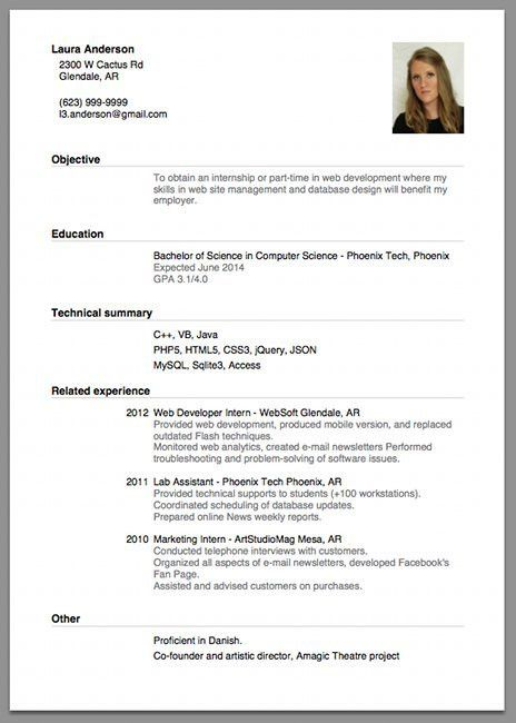 Sample of a beginner's CV | Resume/CV + Cover Letter = Headache ?