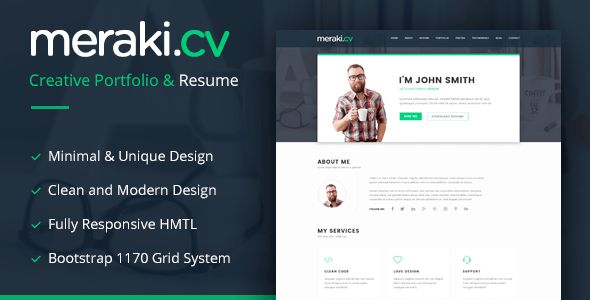 Meraki One Page Resume HTML Template by multidots | ThemeForest