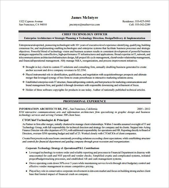 bright and modern cio resume 9 cio resume chief information sweet ...