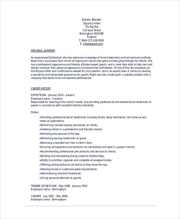 Esthetician Resume Template - 5+ Free Word, Documents Download ...