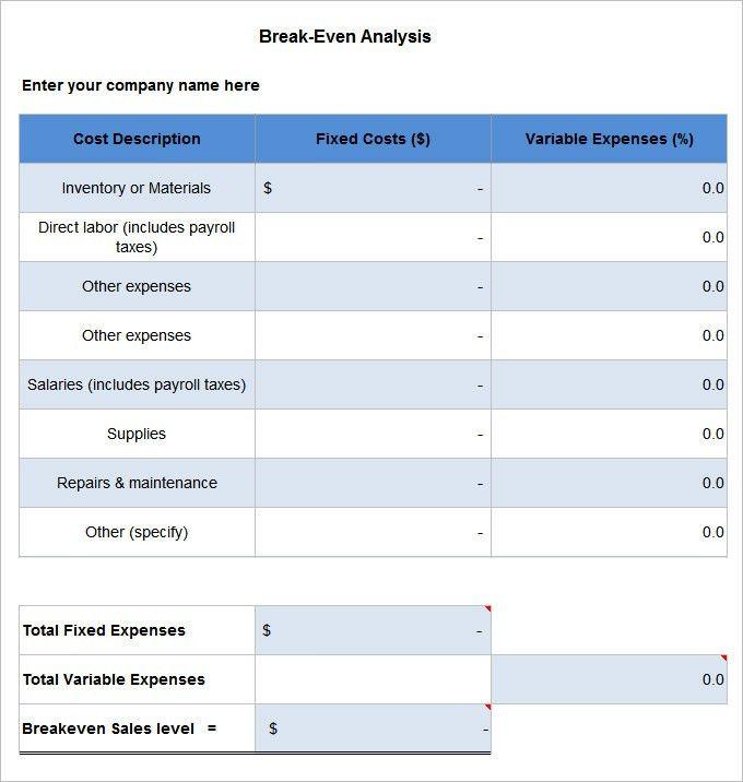 3+ Break Even Analysis Templates - Free Word, PDF Documents ...