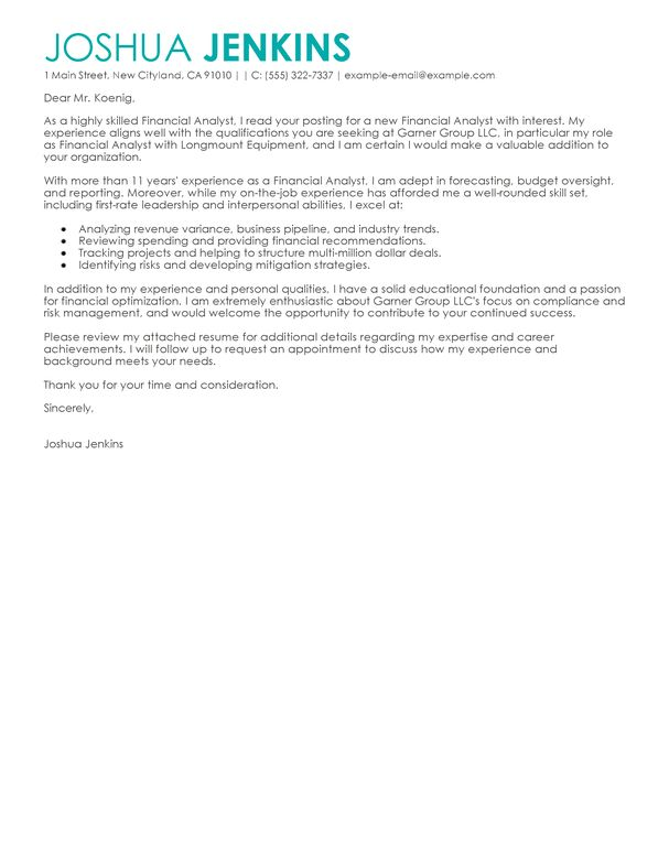 Business Analyst Cover Letter Examples | Business Sample Cover ...