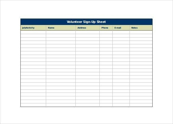 Volunteer Sign Up Template | Template Idea