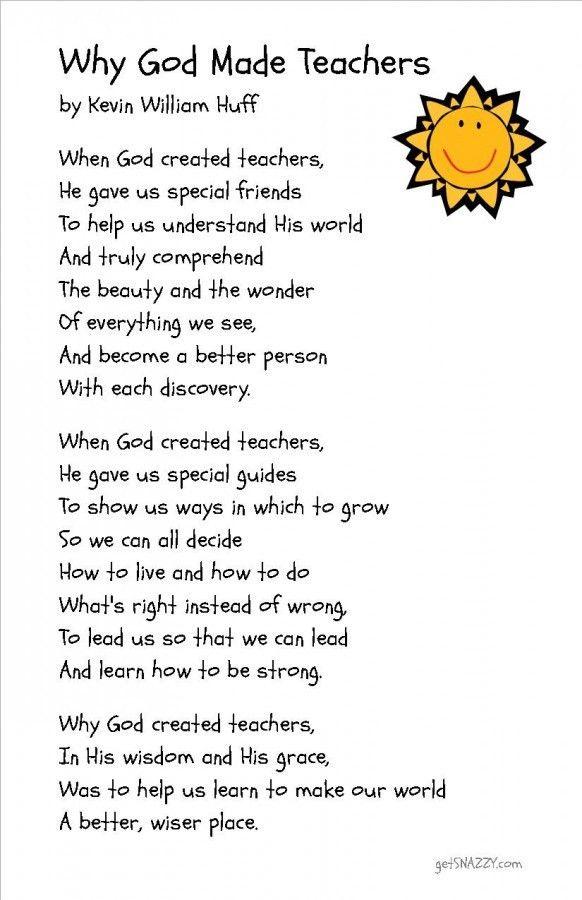 Free Printable} Simple Teacher Gift – Why God Made Teachers Poem ...