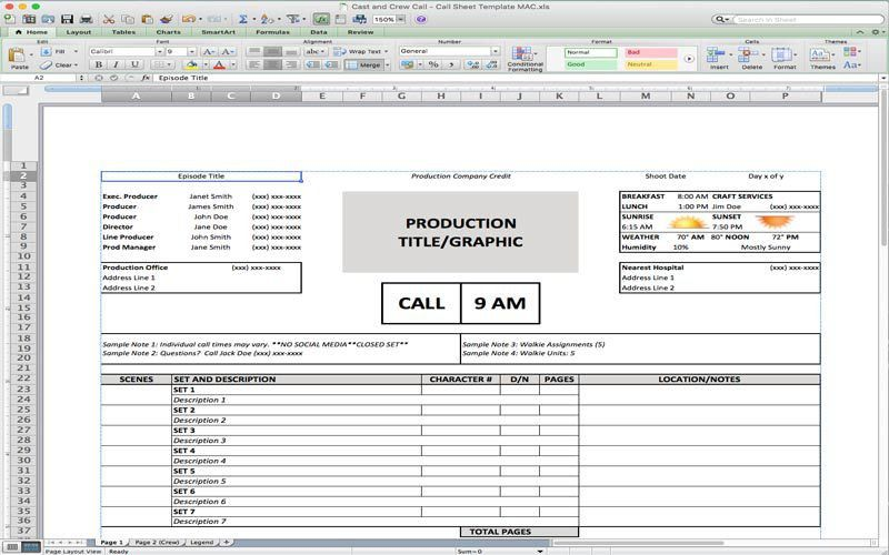5 Useful Microsoft Excel Templates for Indie Film/TV Production ...