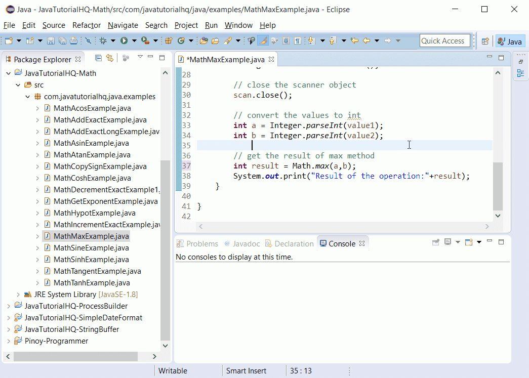 Java Math max() method example