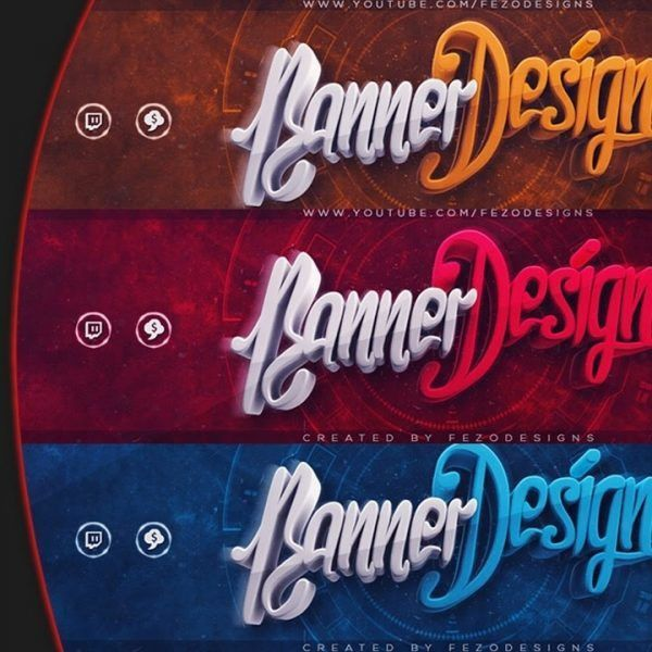 Cool 3D Youtube Banner Template | Fezodesigns | Free Download ...