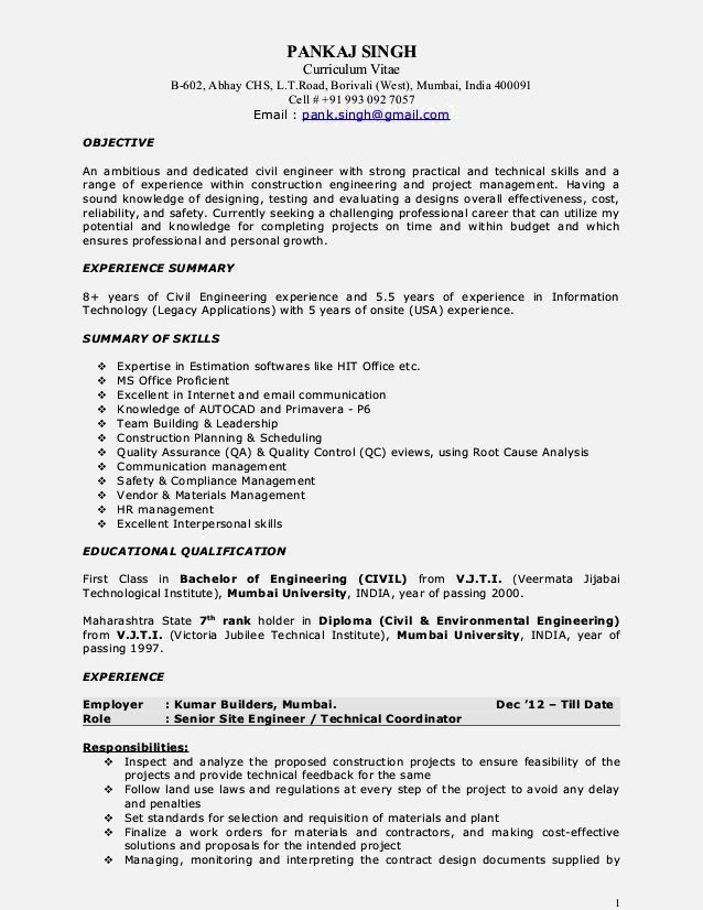 Good Construction Management Resume Objective – Resume Template ...