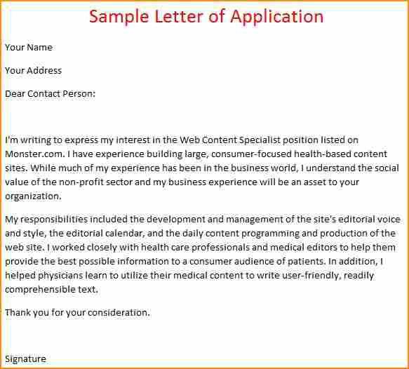 16+ example of a simple application letter - Basic Job Appication ...