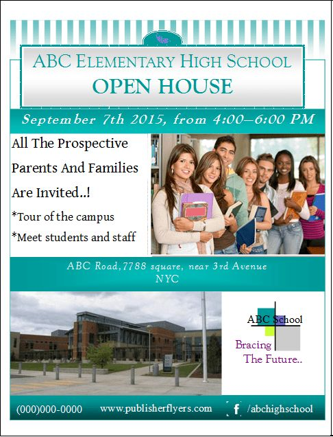 High School Open House Flyer Template – Publisher Flyer Templates