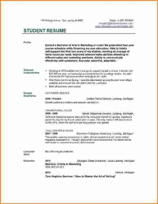 6+ good cv examples for students | Invoice Template Download