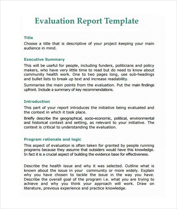 Sample Evaluation Report - 11+ Documents in PDF, Word