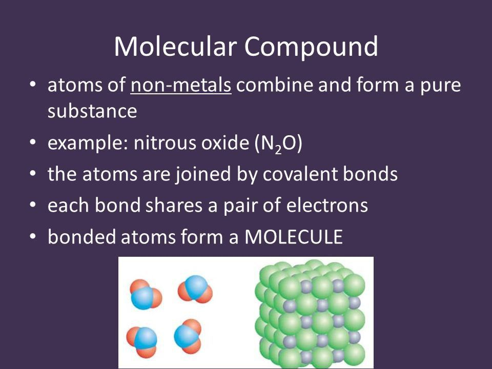 Molecular Compounds. Molecular Compound atoms of non-metals ...