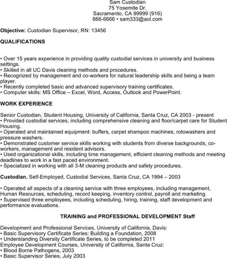Sample resume for custodial worker