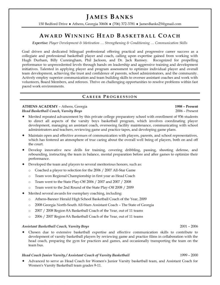 Basketball Coach Resume Amazing College Basketball Coaching Resume ...