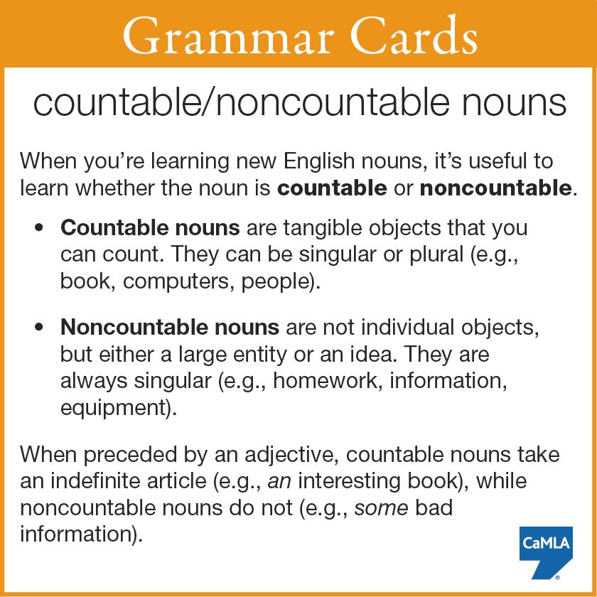 Here's a tip about countable and noncountable nouns. And, in case ...
